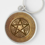 Gold & Leather Pentacle Silver-Colored Round Key Ring