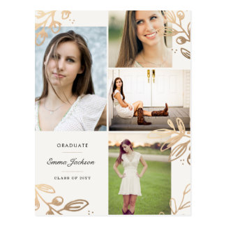 Gold Leaves 4 Photo Grad Announcement Postcard