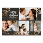 Gold Leaves 4 Photo Holiday Greeting Card