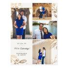 Gold Leaves 4 Photo Pregnancy Announcement Postcard