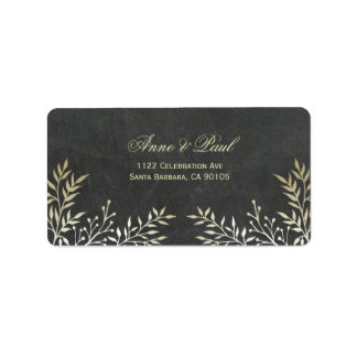 Gold leaves and chalkboard Address Labels
