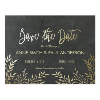 Gold leaves and chalkboard Save the Date Postcard