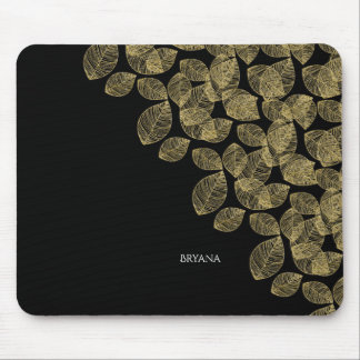 Gold Leaves Black Autumn Elegance Mouse Pad