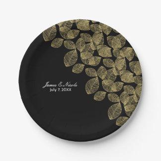 Gold Leaves Black Autumn Elegance Wedding 7 Inch Paper Plate