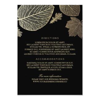 Gold Leaves Black Wedding Details - Information 11 Cm X 16 Cm Invitation Card