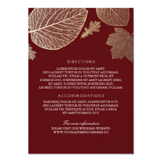 Gold Leaves Burgundy Wedding Details - Information Card