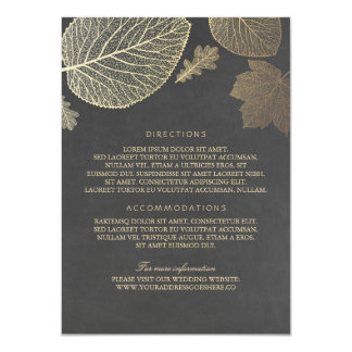 Gold Leaves Chalk Wedding Details - Information 11 Cm X 16 Cm Invitation Card