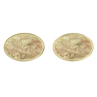 Gold Leaves Cufflinks Gold Finish Cuff Links
