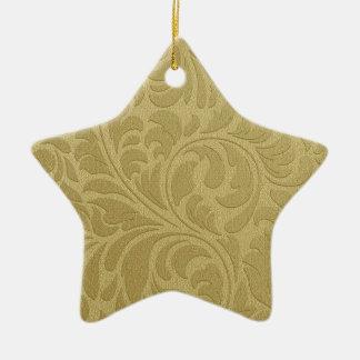 Gold Leaves Ceramic Star Decoration