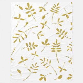 Gold Leaves Design Fleece Blanket
