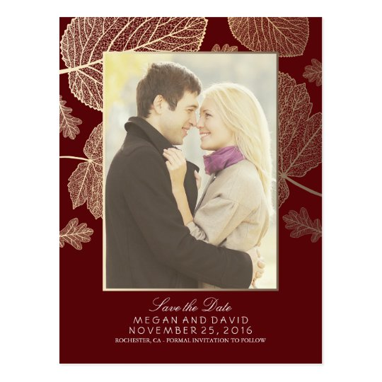 Gold Leaves Fall Burgundy Photo Save the Date