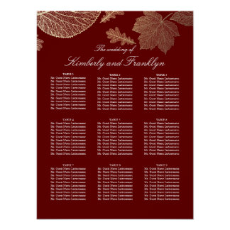 Gold Leaves Fall Burgundy Wedding Seating Chart Poster