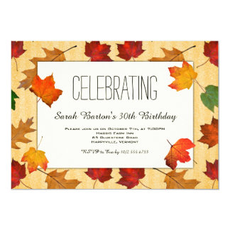 Gold Leaves Fall Party Celebration Invite