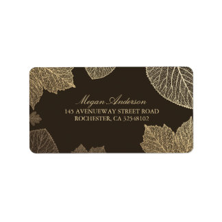 Gold Leaves Fall Wedding Address Label