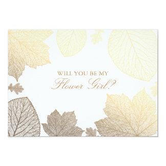 Gold Leaves Fall Wedding Flower Girl Invitation