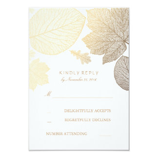 Gold Leaves Fall Wedding RSVP Cards 9 Cm X 13 Cm Invitation Card