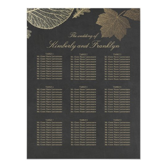 Gold Leaves Fall Wedding Seating Chart