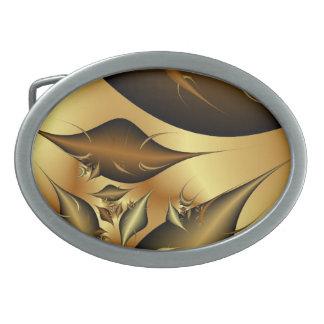 Gold Leaves Fractals Belt Buckles