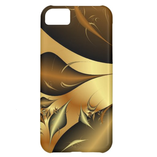 Gold Leaves Fractals Cover For iPhone 5C