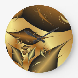 Gold Leaves Fractals Wall Clock