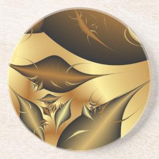 Gold Leaves Fractals Beverage Coaster