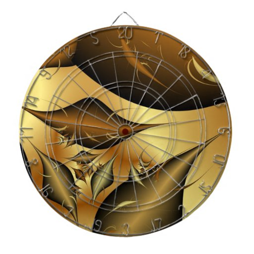 Gold Leaves Fractals Dartboard With Darts