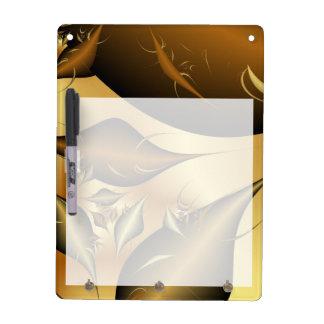Gold Leaves Fractals Dry Erase Board