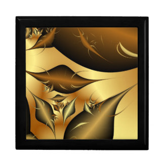 Gold Leaves Fractals Jewelry Box