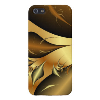Gold Leaves Fractals Cover For iPhone 5