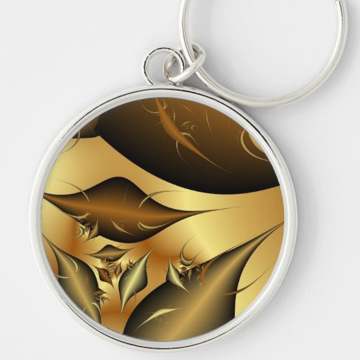 Gold Leaves Fractals Keychains