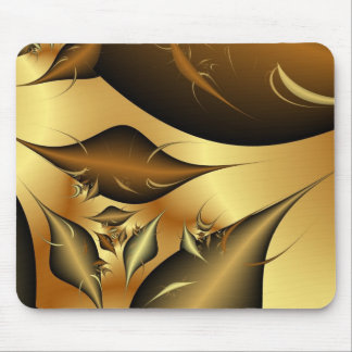 Gold Leaves Fractals Mouse Pad
