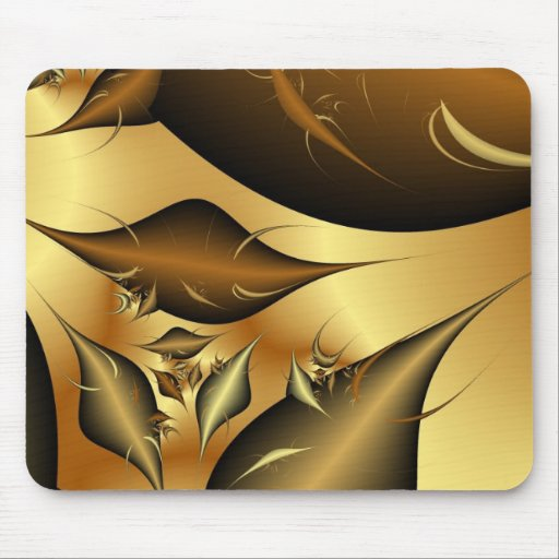 Gold Leaves Fractals Mouse Pads