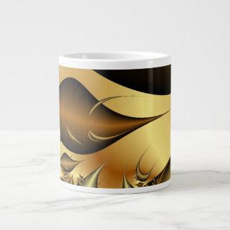 Gold Leaves Fractals 20 Oz Large Ceramic Coffee Mug