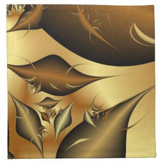Gold Leaves Fractals Cloth Napkin