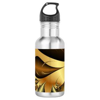 Gold Leaves Fractals 18oz Water Bottle