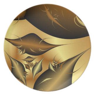 Gold Leaves Fractals Dinner Plates
