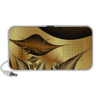 Gold Leaves Fractals Laptop Speaker