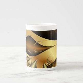 Gold Leaves Fractals Bone China Mug