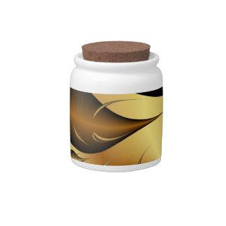 Gold Leaves Fractals Candy Jar