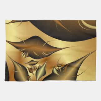 Gold Leaves Fractals Hand Towel