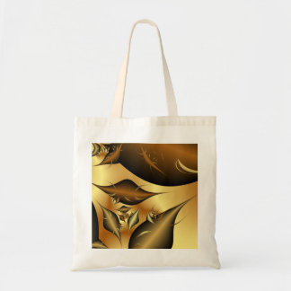 Gold Leaves Fractals Canvas Bags