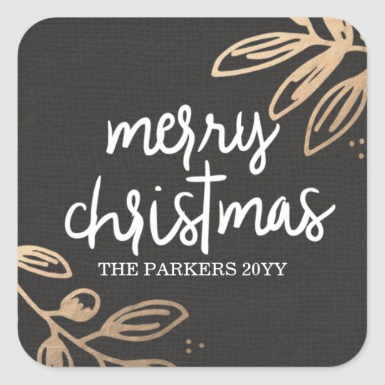Gold Leaves Holiday Square Sticker