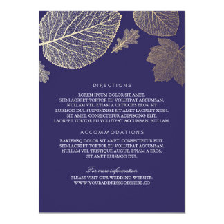 Gold Leaves Navy Wedding Details - Information Card