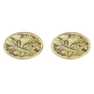 Gold Leaves On Black Cufflinks Gold Finish Cufflinks