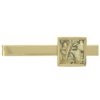 Gold Leaves On Black Tie Bar Gold Finish Tie Clip