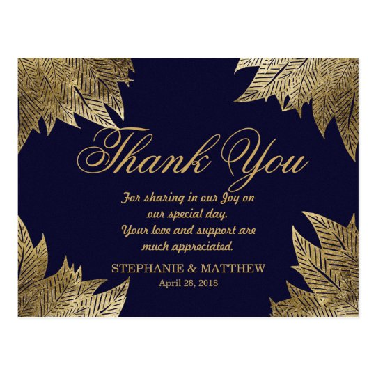 Gold Leaves on Navy Blue Thank You Postcards