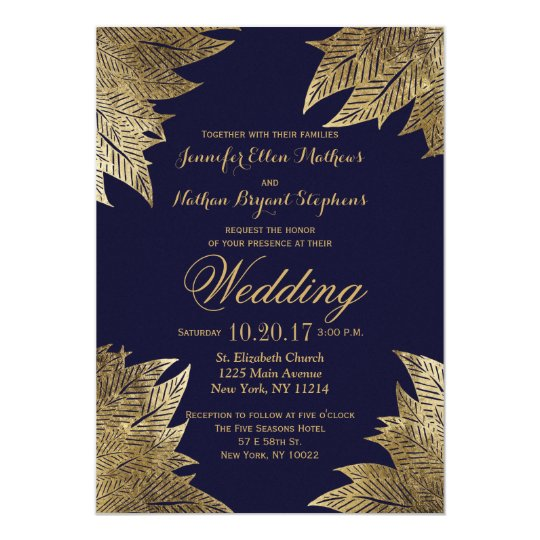 Gold And Blue Wedding Invitations: Gold Leaves On Navy Blue Wedding Invitations