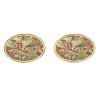 Gold Leaves On Red Cufflinks Gold Finish Cufflinks