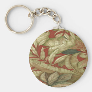 Gold Leaves On Red Key Chain