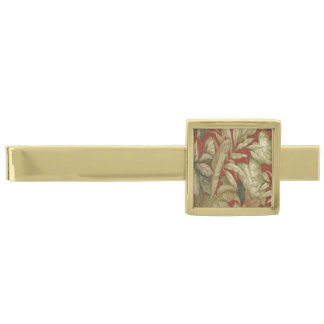 Gold Leaves On Red Tie Bar Gold Finish Tie Clip